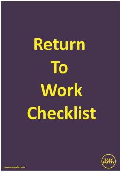 COVID Return To Work Checklist